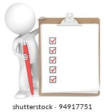 Clipboard. 3D little human character holding a Clipboard with Checklists and a Pen. New Edition. - stock photo