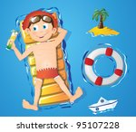 Water fun - boy - stock vector