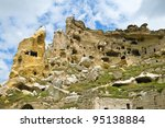 Cavusin monastery in Cappadocia, Turkey. - stock photo