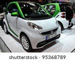 TORONTO-FEBRUARY 16: ecoENERGY Award Winner 2012 Smart ForTwo Electric Drive on display at the 2012 Canadian International Auto Show on February 16, 2012 in Toronto, Canada. February 16, 2012 in Toronto - stock photo