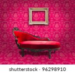 red luxury sofa and frame in pink room - stock photo
