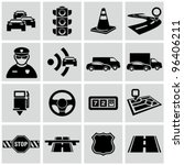 Black traffic and driving icons set. - stock vector