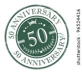 Stamp 50 anniversary, vector illustration - stock vector