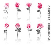 Roses, set icons with reflection - stock vector