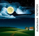 Summer night with full moon and stars on a cloudy sky - stock vector