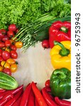 vegetables frame on wooden board - stock photo