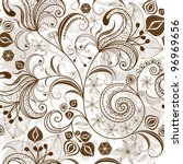 Seamless white and brown floral pattern with vintage flowers (vector) - stock vector