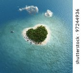 heart-shaped tropical island - stock photo