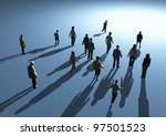 people walking in the light - stock photo