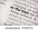 "Selective focus on the word ""inflation"". Many more word photos for you in my portfolio... - stock photo"