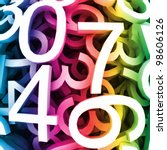 Abstract background with colorful digital numbers. Vector - stock vector