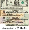 1, 2, 5, 10, 20, 50, 100  dollars banknotes,  close up - stock photo