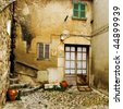 a view of a litle old mediterranean village - stock photo