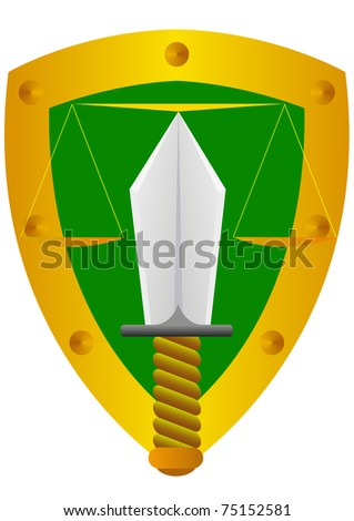Abstract image of justice. On the background of the shield depicts a ...