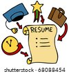An image of a resume history, education, awards, and experience. - stock photo