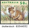 AUSTRALIA - CIRCA 1992: A stamp printed in Australia, shows the Koala (Phascolarctos cinereus), circa 1992 - stock photo