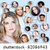 beautiful caucasian young woman with social network collage concept of young peer friends men and women in their 20s - stock photo
