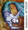 Beautiful mermaid acrylic painted.Picture I have created myself. - stock photo