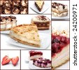 Cakes with Chocolate and Berries. Dessert Collage - stock photo