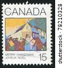 CANADA - CIRCA 1980: A stamp printed by Canada, shows Christmas Morning, by Frank Charles Hennessey, circa 1980 - stock photo
