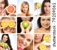 Collage made of some photos about health, beauty, spa and dieting - stock photo