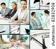 Collage of businesspeople at work and business objects - stock photo