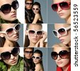 Collage of fashion model wearing modern sunglasses - stock photo