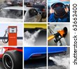 collage of petroleum industry and pollution from cars - stock photo