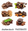 Collage of sweet chocolate on the white - stock photo
