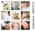 Collage with bridegroom and bride in different situations - stock photo