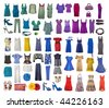 collection of icons of different clothes and accessories for the Internet and banners - stock photo