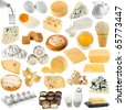 collection set of dairy produce, cheese,curd, cottage, chicken egg isolated on white background - stock photo