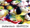Colorful Eggs Smashed Abstract - stock photo