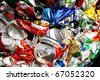Compressed beer can background close up - stock photo