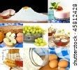 Desserts collage. Food ingredients and ready to eat food - stock photo