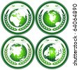 Eco Earth globe stamps with wreath - stock photo