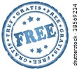 Free blue ink stamp - stock photo