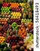 Fresh fruit and vegetables at a market stall - stock photo