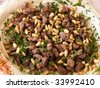 Fresh Hummus with lamb meat and parsley Middle East Arabic food - stock photo
