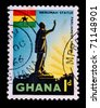 GHANA - CIRCA 1967: A stamp printed in Ghana shows image of a statue to Kwame Nkrumah, former Prime Minister of Ghana, series, circa 1967 - stock photo