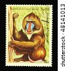 GUINEA-BISSAU - CIRCA 1983: A stamp printed in Guinea-Bissau showing macaque circa 1983 - stock photo