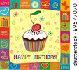 Happy birthday card. Illustration of cute cupcake - stock photo