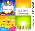 Happy Birthday Card Set - stock photo
