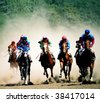 Horse race and Pyatigorsk hippodrome,Northern Caucasus,Russia. - stock photo
