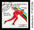MALAYSIA-CIRCA 1988: The postal stamp printed in MALAYSIA shows skating, series Olympic Games in Calgary 1988, circa 1988 - stock photo