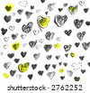 Original Hand-drawn Valentine Hearts isolated on white background - stock photo