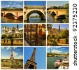 Paris collage. Romantic symbols of Paris: Eiffel Tower, parisian palaces, bridges over the Seine, Notre Dame cathedral,. France. - stock photo