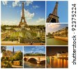 Paris. Symbols of Paris: Eiffel Tower, parisian palaces, bridges over the Seine. France. Collage - stock photo