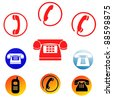 phone icons, signs, illustrations set. telephone icons collection. - stock photo