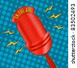 Raster. Pop art radio microphone - stock photo